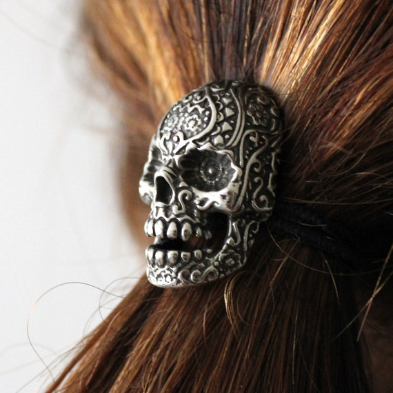 Sugar Skull Ponytail holder Silver Sugar Skull Hair Tie 032
