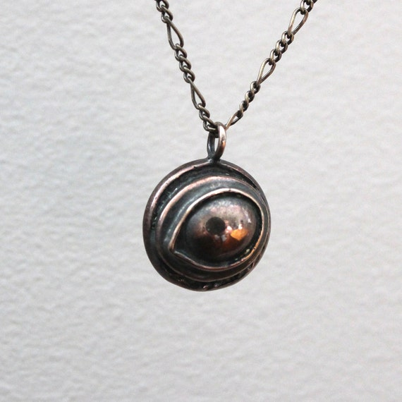 Raven Eye Necklace Eye of the Raven Protection Amulet Necklace in Solid Bronze 055
