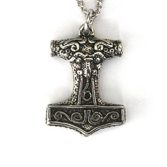 Thors Hammer Necklace Silver Mjolnir Pendant Necklace Thors Hammer Silver Viking Jewelry 086