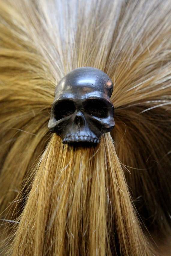Black Onyx Human Skull Pony tail Holder Hair Tie 2023