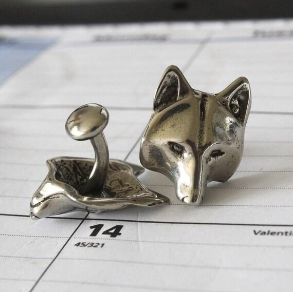 Silver Wolf Cufflinks  Silver Wolf Face Cuff Links Wolf Head Cufflinks 138