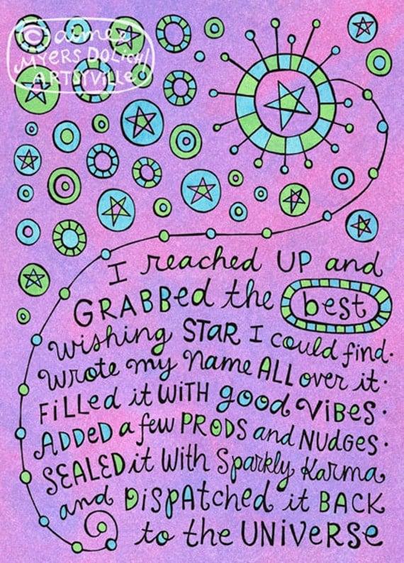 Wishing Star (5x7 doodle print)