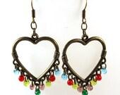 Brass Heart Earrings - Multi Colored Fringe in Glass Beads - Blue, Red, Yellow, Purple, Green