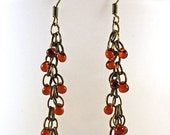Brass and Amber Glass Bead Dangle Clusters
