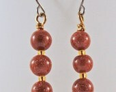 Goldstone Dangle Earrings - Copper and Glass