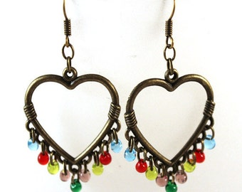 Brass Heart Earrings - Renaissance or Victorian - Multi Colored Fringe in Glass Beads - Blue, Red, Yellow, Purple, Green