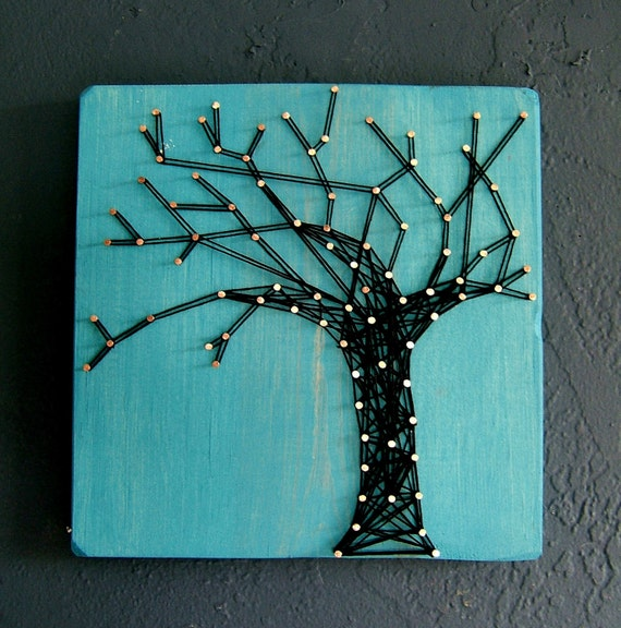 Modern String Art Wooden Tablet - Winter Oak on Cozumel