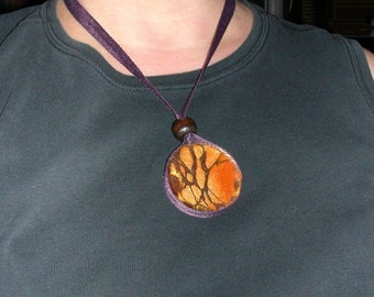 Evoking The Magic Wood Stunning Resin Pendant Necklace
