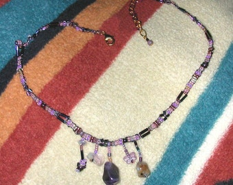 Purple and Pink Seed Bead Necklace with Multiple Pendants of Semi-precious Stones