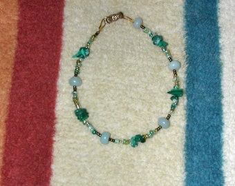 Delicate Malacite Aquamarine and Green Glass Bracelet