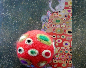 Easter red pincushion ball egg home decor G. Klimt (Hope II) art inspired handmade Weddings favor Birthday gift for her Mother day