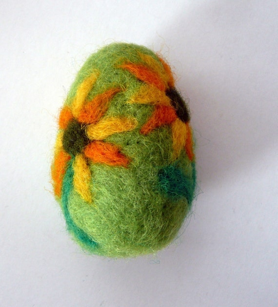 Easter ornament felted egg or ball green wool sunflowers spring home decor eco friendly gift for her ornament lavender sachet