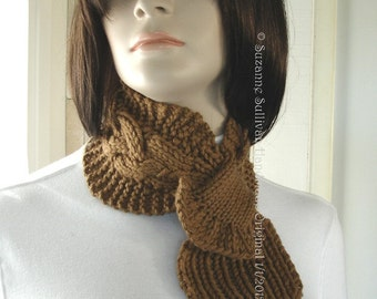 Ascot Scarf, Hidden Loop Scarf, Thick and Warm,  Light Golden Brown