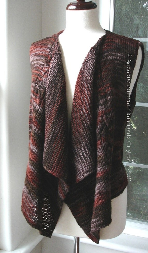 Vest Knitting Pattern Beginners : Pdf knitting pattern vest drape front