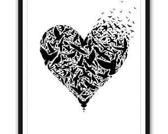 Be Free - 16x20 inches on A2 Poster featuring love heart and birds (in Jet Black and White)
