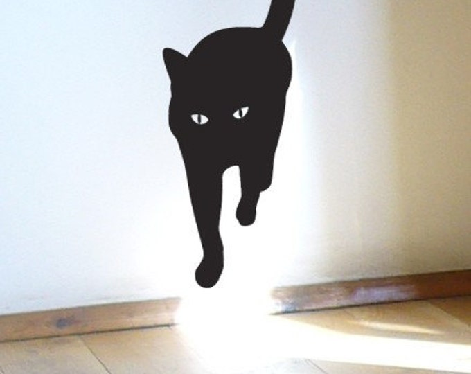 Cat Walk Black Cat Wall Sticker, Cat is coming .. Charming vinyl wall decal