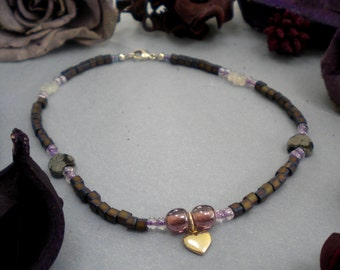 HYACINTH HEARTS Anklet With Sterling Silver Puffed Heart Charm, Textured Quartz, Snowflake Obsidian, Czech Glass & India Glass