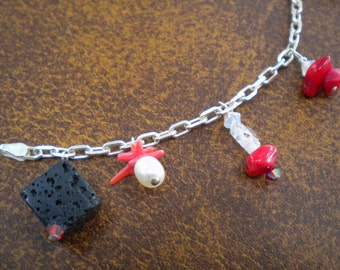 FIREWALKER Chain Anklet In Sterling Silver With Red Branch Coral, Volcanic Lava Cube, Freshwater Pearl, Textured Quartz, Hematite, Bluestone