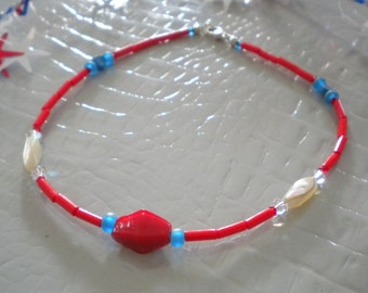 BROAD STRIPES Anklet With Lapis, Mother Of Pearl, India Glass, Czech Glass & Swarovski Crystals On Sterling Silver