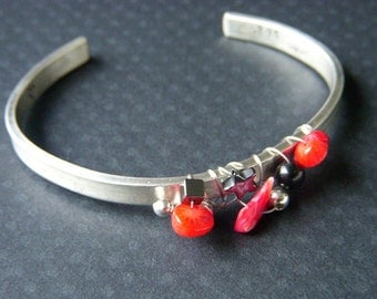 CORAL SMOOTHIE Cuff Bracelet In Sterling Silver Wire Wrapped With Red Branch Coral, Hematite & Onyx Handstamped OOAK