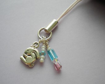 BUNNY Cell Phone Charm With Sterling Silver Rabbit, Swarovski Crystals & Czech Glass On Light Pink Corded Strap -On Sale-