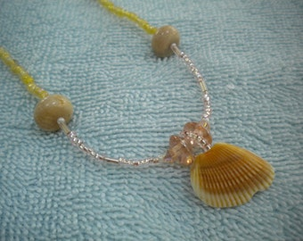 BEACH BLONDE Choker Necklace With Beaded Seashell Pendant, Rose Quartz, Citrine, Petrified Coral, Glass, Swarovski Crystals, Sterling Silver