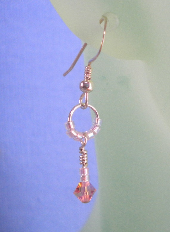 DELICATE Kid's Earrings Wire Wrapped With Swarovski Crystal And Delica Beaded Hoop On Sterling Silver Wires