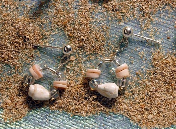SEASHELLS At The SEASHORE Kid's Earrings With Shells & Czech Glass Hoops On Sterling Silver Posts