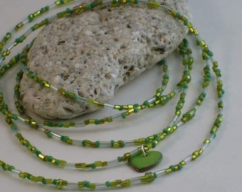 Heart of Green Super-Long Beaded Goodness Necklace