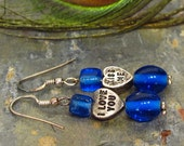 Earrings: Valentine Candy Charm Dangle Earrings with Cobalt Blue Glass Beads - E212