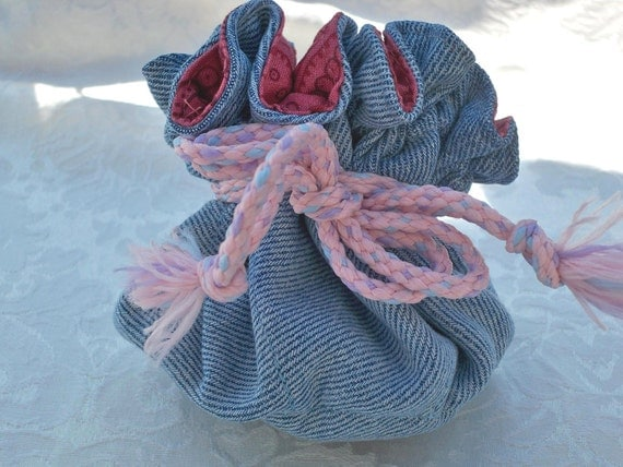 Recycled Denim, Drawstring Pouch, Travel Bag, Paisley Lining