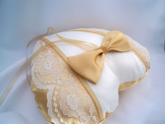 Wedding Ring Pillow, Heart Shape, Gold Satin, Gold Bow Tie, Ivory Satin, Ecru Lace Trim