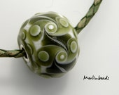 Big hole bead with silvercore olivegreen on white