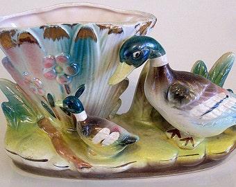 Duck Planter Vase Art Pottery Lustreware Gold Vintage Mallard Decorative Figurine