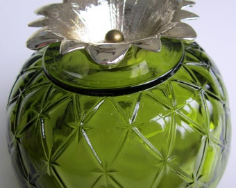 FAIRY LAMP Candle Glass Shade Green Lamp Quilt Diamond Vintage Duette Candy