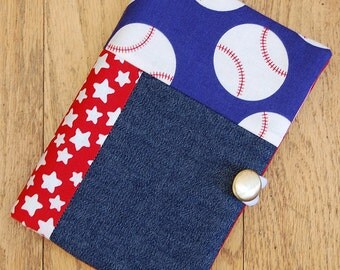 Patriotic Baseball Small Notebook or Journal Cover