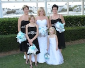 SALE Aquamarine, White and Platinum Large Bridesmaid Feather Bouquet Made to Order for You