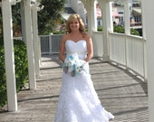 SALE Extra Large Aquamarine, White and Platinum Bride's Feather Bouquet Made to Order for You