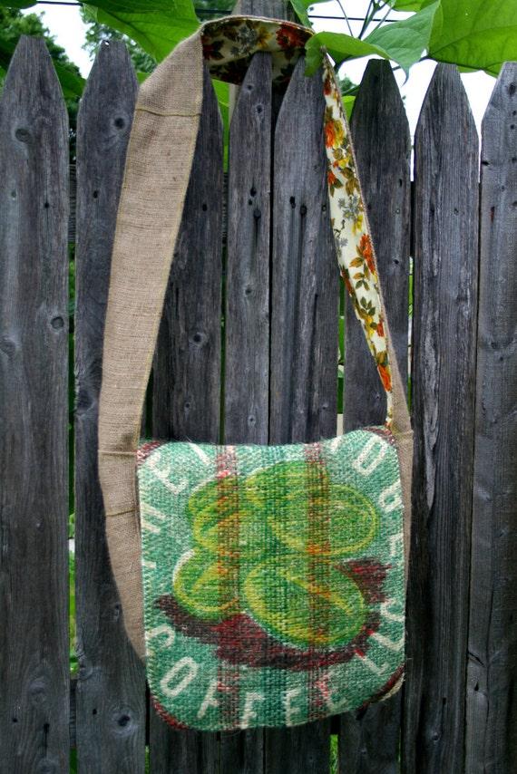 Coffee Jute Messenger Bag Boho Hobo Columbian