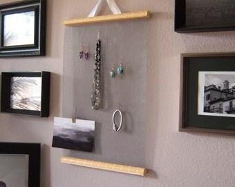 Hanging Jewelry Organizer in Orange Damask