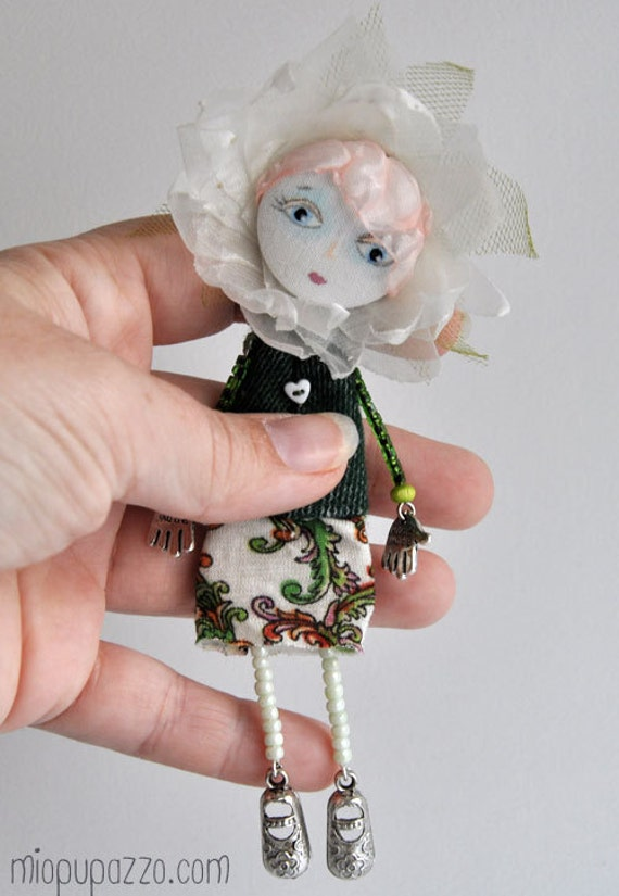 Art Flower Doll Brooch mixed media collage