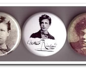 ARTHUR RIMBAUD buttons, pins, badges, french poet, poetry, decadent
