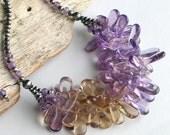Bib Necklace in Lavender Yellow Gemstones, Ametrine Original Neckace with Sterling Silver Beaded Chain, Ametrine Artwork, Deluxe Gift