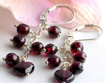 Red Garnet Earrings, Dangle Heart Earrings Garnet and Silver, Red Heart, January Birthstone, Holiday Earrings