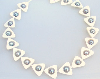 Triangular Framed Big Peacock Pearl Necklace