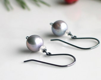 Silver Pearls and Moonstone Earrings, Gray Freshwater Pearl Earrings on Sterling Ear wires, Pearl Drop Earrings