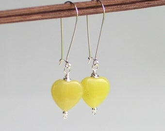 Yellow Heart Dangle Earrings, Olive Jade Stone on Long Self latch Sterling Silver Earrings, Chartreuse Earrings
