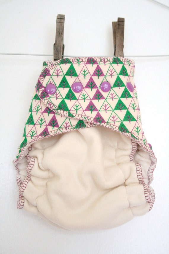 green and purple forest - organic OS diaper - fitted one size diaper - hemp, bamboo and cotton