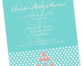 NAUTICAL ANCHOR Printable Party Invitation - Aqua and Pink Printing Available