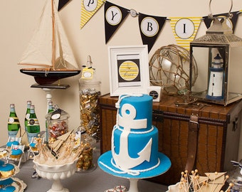 PREPPY NAUTICAL Printable Party Decor Package and Invitation - Navy and Yellow